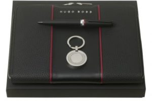 Parure stylo bille, conférencier A5 & porte-clefs HUGO BOSS